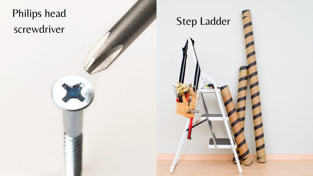 Philips head screwdriver and a step ladder